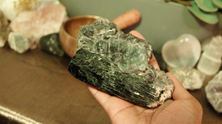 Black Tourmaline/Fluorite cluster from South Africa | Um, OMG Tarot